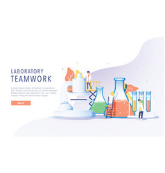 teamwork laboratory research with science glass vector image