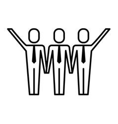 three men holding hands teamwork successful vector image