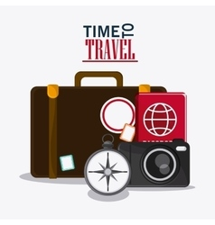 time to travel vacation baggage design vector image