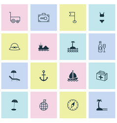 Travel icons set collection of coast parasol vector