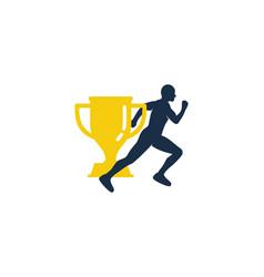 trophy run logo icon design vector image