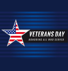 veterans day usa star banner vector image