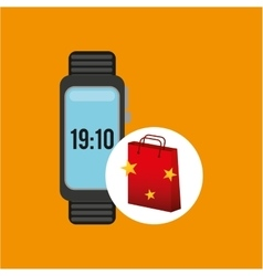 Watch red bag gift star design vector