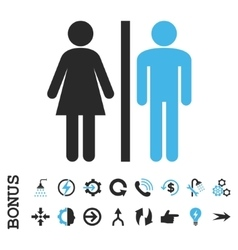 WC Persons Flat Icon With Bonus vector image
