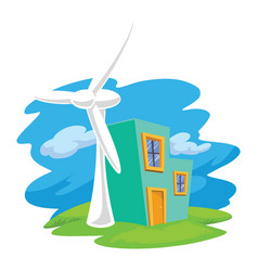 Wind turbine next to a house vector
