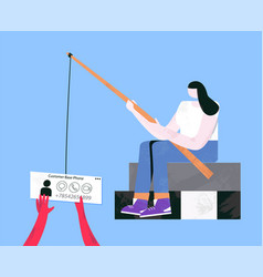 woman with fishing rod trying to catch new workers vector image