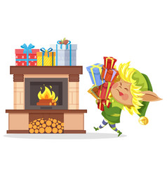 xmas elf hold boxes with gifts fireplace in room vector image