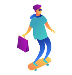 young businessman with shopping bag on skateboard vector image