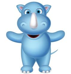 Happy baby rhino cartoon posing vector