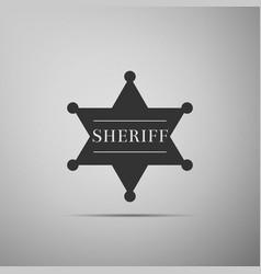 hexagonal sheriff star icon sheriff badge symbol vector image