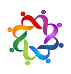 Teamwork helping social people logo vector