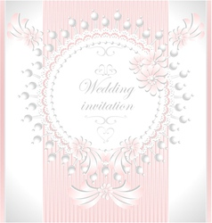 Wedding invitation with pearls flowers in pink co vector image vector image