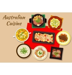 Australian cuisine dishes for festive dinner icon vector image vector image