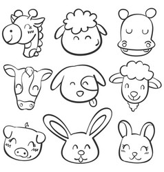 doodle set animal head style vector image vector image