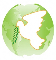 dove on green planet vector image vector image
