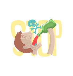 stop alcohol bad habit alcoholism concept vector image vector image