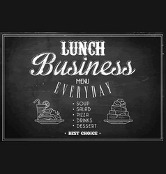 stylish template of business lunch menu on black vector image vector image
