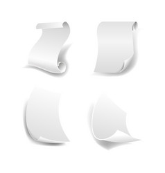 white paper sheets with curled ends isolated vector image vector image