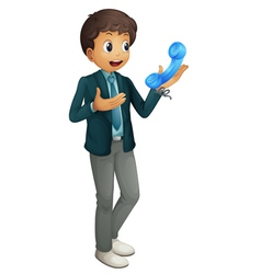 boy and phone receiver vector image vector image