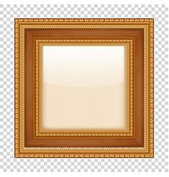 Empty gold frame on transparent background wooden vector