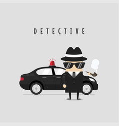 funny detective character with his car vector image