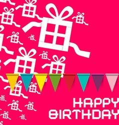 Happy Birthday Birthday Pink Card with Colorful vector image vector image