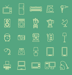 Household line color icons on green background vector