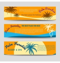 Palm Paradise banners set vector image vector image