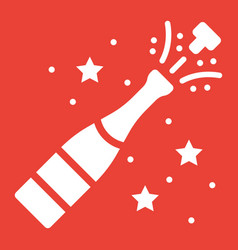 champagne bottle pop glyph icon new year vector image