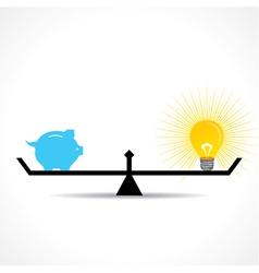 compare money and bulb idea concept vector image
