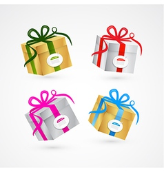 Present Box Gift Box Set Gold and Silver vector image