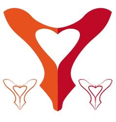 shoe love red shoe heart vector image