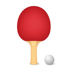 3d realistic red ping pong racket and ball vector