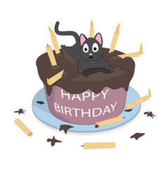 a cat on the cake wishes a happy birthday vector image