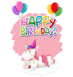 A cute unicorn happy birthday icon vector