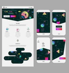 abstract geometric ui screens mockup and one page vector image