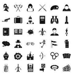 Act aggression icons set simple style vector
