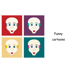 Assembly of flat icons on theme funny bald-headed vector