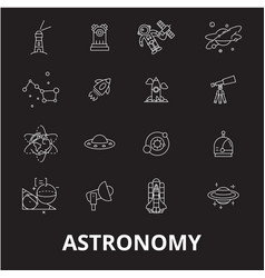 Astronomy editable line icons set on black vector