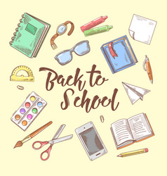 back to school doodle educational concept vector image