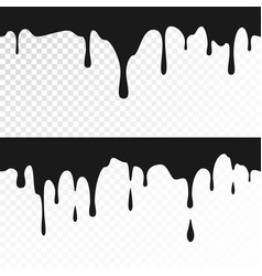 Black ink drips seamless dripping paint texture vector
