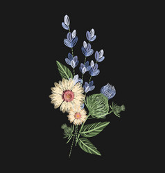 bouquet of wild flowers embroidered with colorful vector image