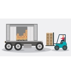 Box forklift truck delivery shipping icon vector