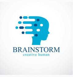 Brainstorm concept design human head profile vector