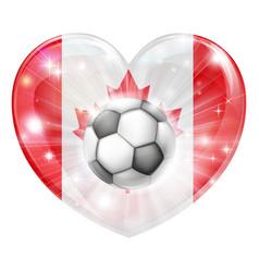 canada soccer heart flag vector image