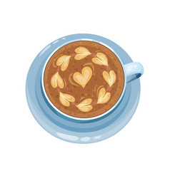 Cappuccino cup with hearts on top drawings on vector