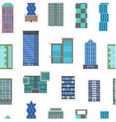 cartoon buildings signs seamless pattern vector image