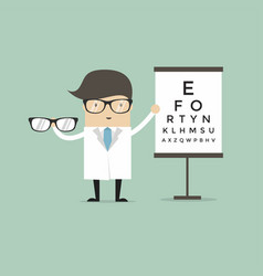 Caucasian ophthalmologist doctor giving glasses vector