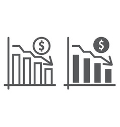 Chart line and glyph icon finance and banking vector