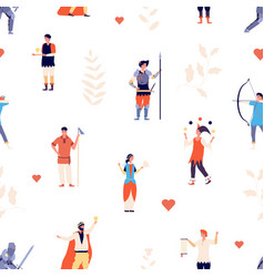children pattern royal medieval characters vector image